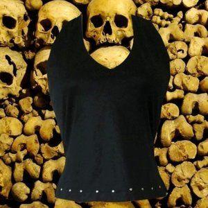 vintage black studded halter top shirt size 2xs xs